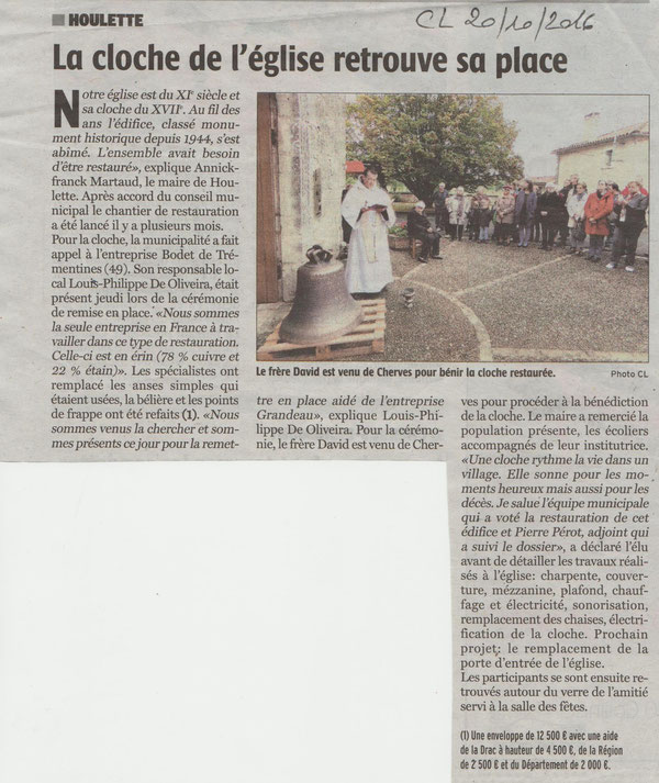 Article Charente Libre du 20 octobre 2016