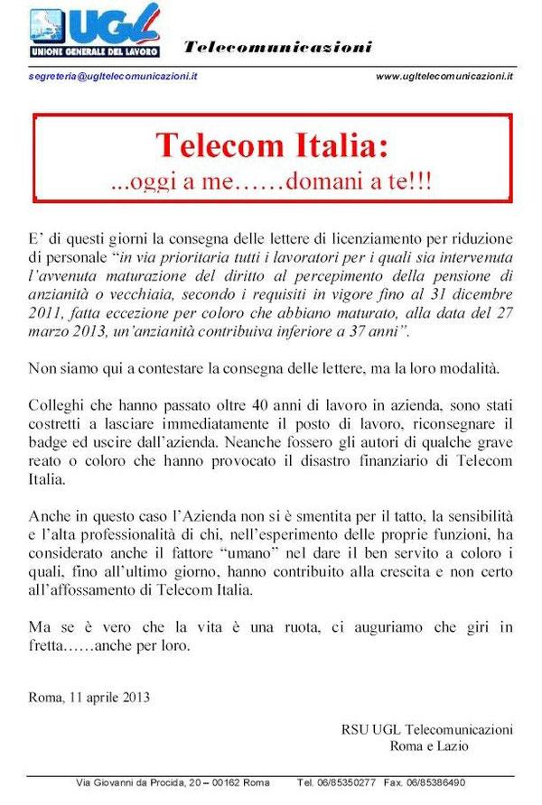 Telecom Italia: ...oggi a me……domani a te !!! - Ugl Tlc Nazionale ...
