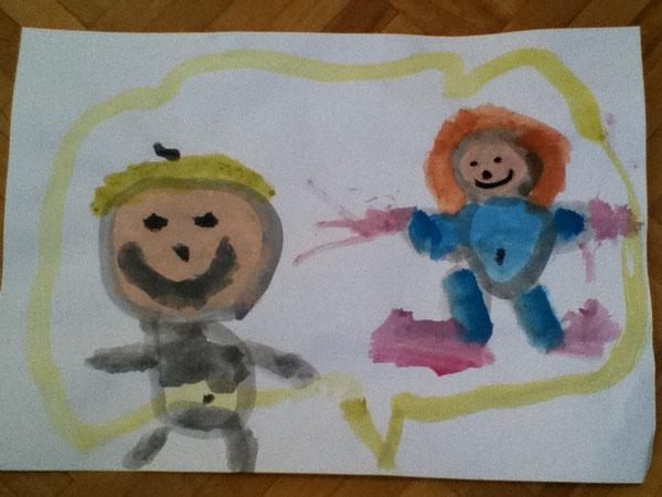 """Auf diesem Bild hat meine Tochter ihre Geschwisterchen gemalt. Sie nannte es """"Enola und Sternchen im Herzbauch"""""""