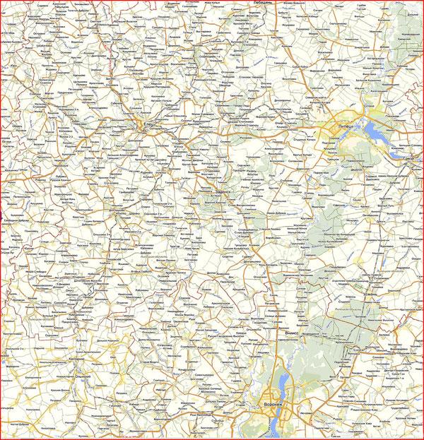 Подробная карта ореала изготовления и бытования елецкой рояльной гармони