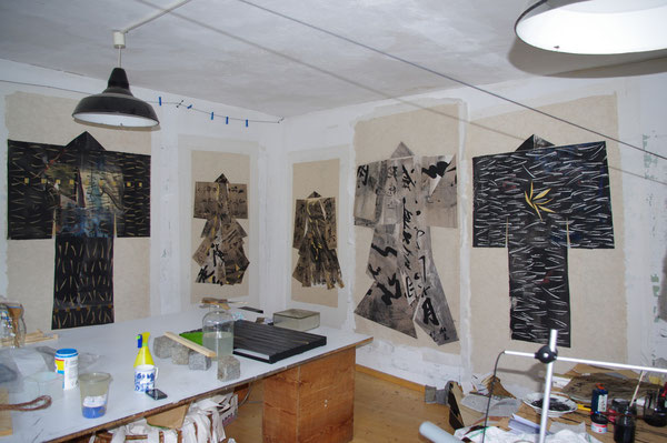 studio  2012    mounting of the paper kimonos  on rice paper