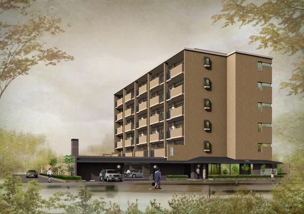 岡山に建設のマンション 秋空のイメージのCGパース