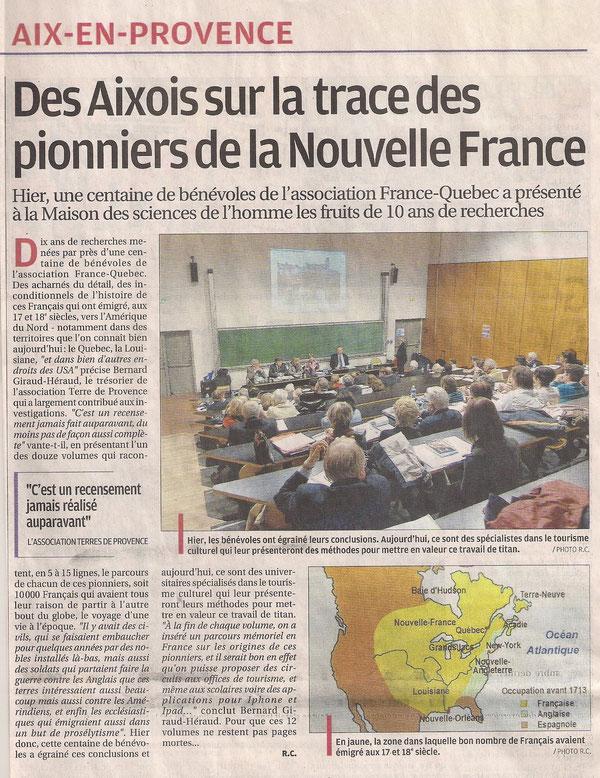 Parue sur le journal La Provence en Octobre 2012