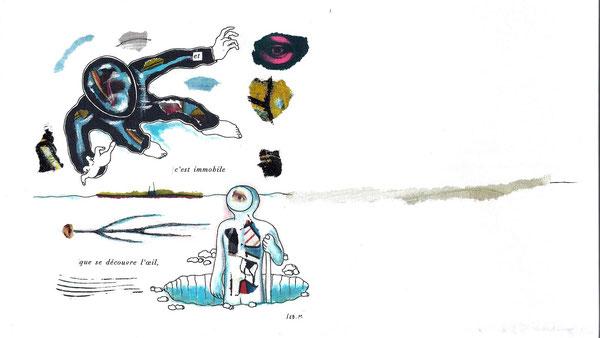 SEB. M : Troisième  dessin pour L'Enfui tourne court de René Daumal. Une des versions définitives