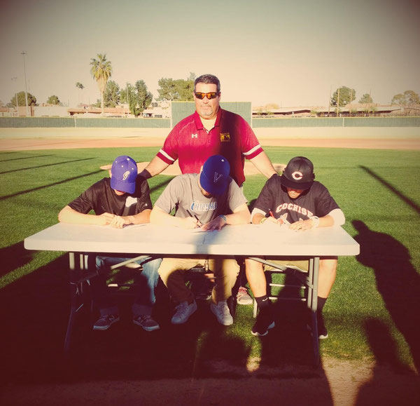 Tolleson HS players and 2013 Winter Camp Attendees signing Letter of Intents to play at Vernon Texas, Cochise College AZ and Gateway Community College AZ