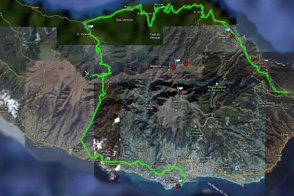 die Gesamtroute von Funchal via Sao Vicente und zurück