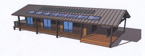 façade sud avec vue sur les panneaux solaires destinés a alimenter en électricité le batiment
