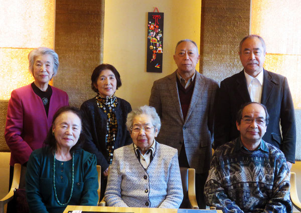 前列左から 高田八重子、田村千代子、平島正義、 上段左から 東山貴子、鈴木きせ、岩川正夫、山本光一