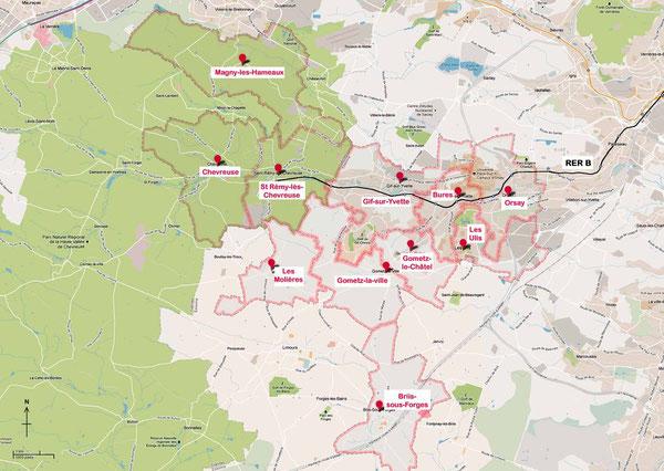 Les adhérents du Comité COURB se répartissent sur 11 communes de la Vallée de Chevreuse et ses environs