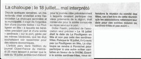 Ouest France du 31 Mars 2015