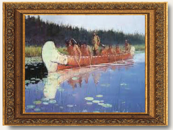 great painting of explorers in a canoe
