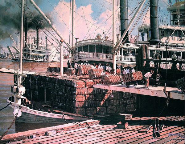 ( Schilderij van James L. Kendrick III ) Het verpakte katoen wordt op een stoomboot geladen.