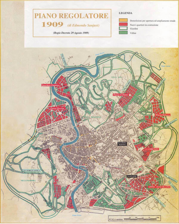 Fasi della trasformazione urbana: piano regolatore Nathan e SanJust 1909