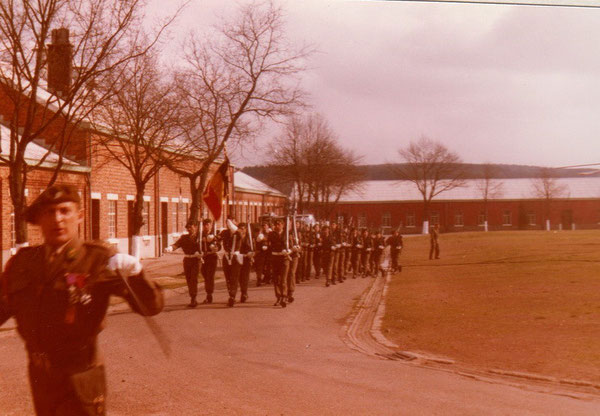 Parade beim Königsbesuch 1978: auf Kopf der 3. Kompanie: Hauptmann Lucien Paquay