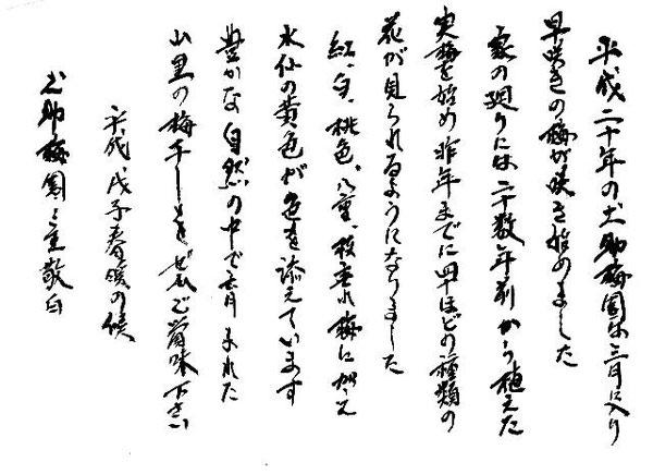 土助梅園の書 平成20年