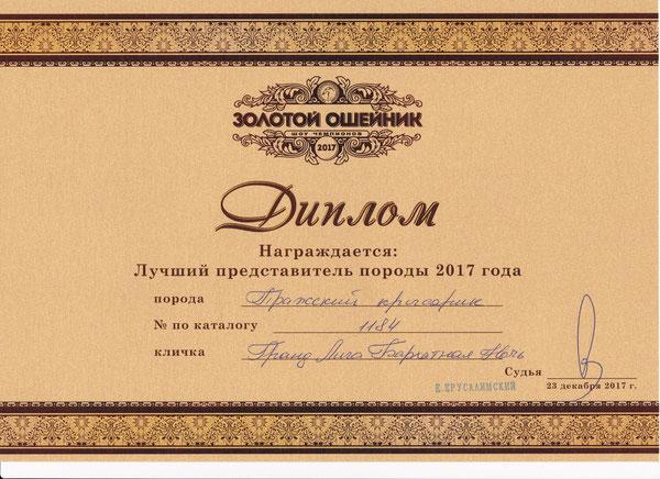 Золотой ошейник -2017  Лучший представитель породы 2017