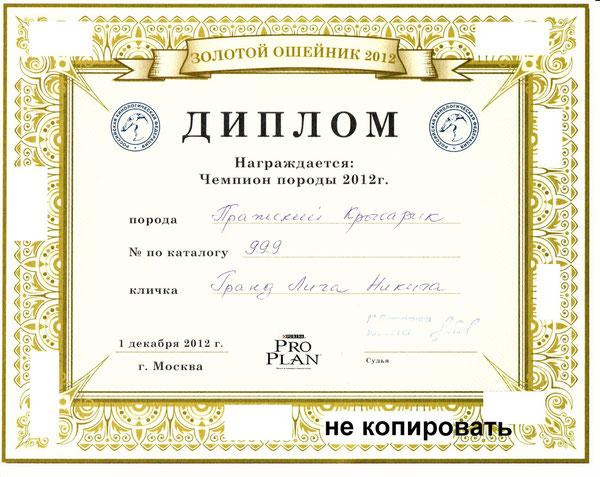 Лучшия сука - 2012,Чемпион породы 2012 (эксперт Иванищева)