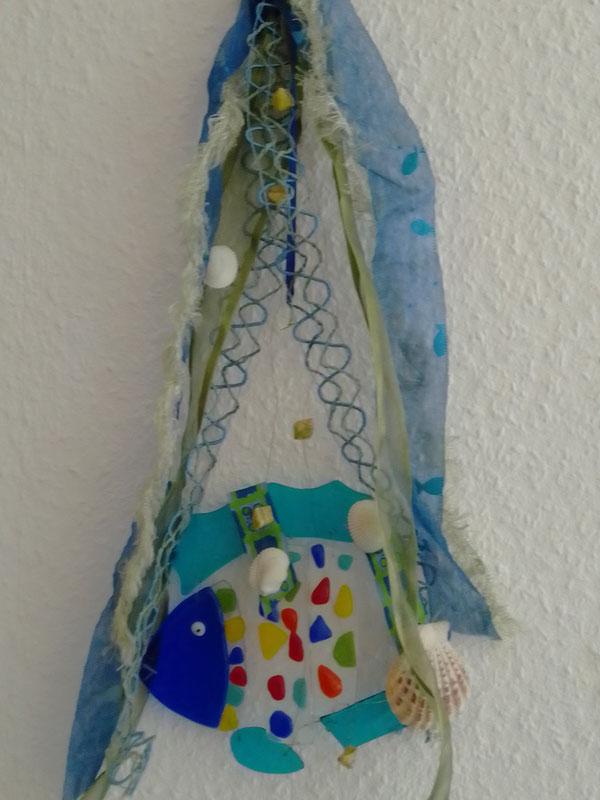 Hänge-Dekoration mit Fisch und Muscheln  (4,-- € + Porto)