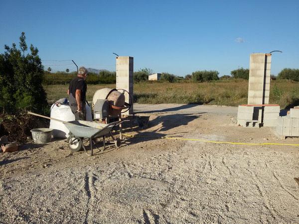 Lambert bei der Arbeit auf der Baustelle