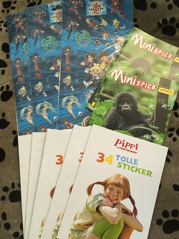 Sticker und Bücher für Kinder