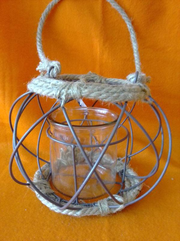 Deko-Windlicht aus Metall, Glas und Kordel  (8,-- € + Porto)