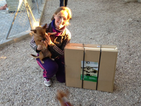 Ophélia freut sich riesig über die Spende für die Samtpfötchen