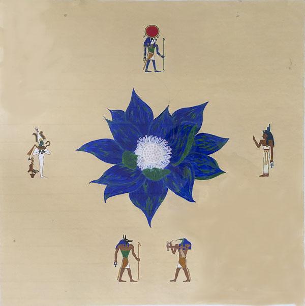 Lotus von Ägypten/Lotus of Egypt, Acryl, 50x50 cm, 1987.