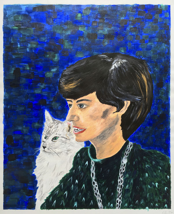 Dame mit Katze/Lady with cat, Acryl, 50x60 cm, 1987.