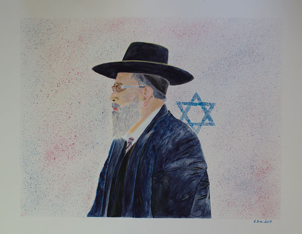 Rabbi, Aquarell-Polychromos-Acryl Mischtechnik, 40x50 cm, 2017.