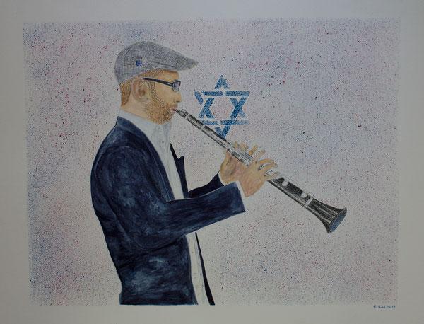 Klezmer Musiker/Klezmer musician, Aquarell-Polychromos-Acryl Mischtechnik, 40x50 cm, 2017.