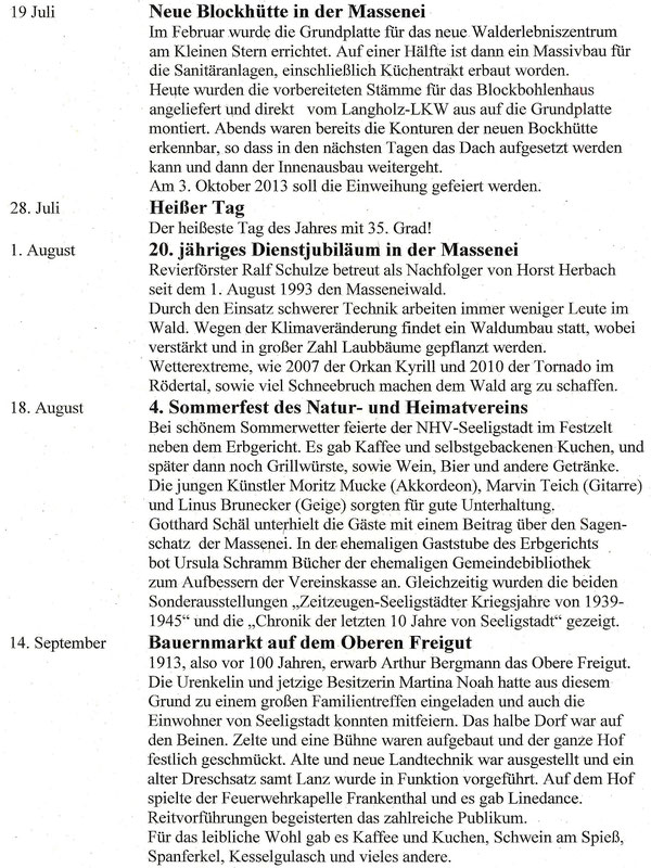 Bild: Teichler Seeligstadt Chronik 2013