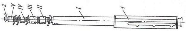 Рис. 1. Ствол мачты  1 – подвеска; 2 – гнездо антенны; I, II, III, IV, V – секции / в указанном  порядке/