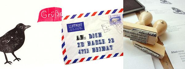 Fotocollage, handgedruchte Amselpostkarte Grüße, Luftpostumschlag, Adressstempel