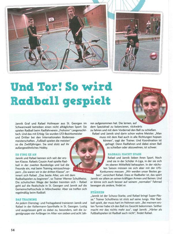 Vorstellung Radball aus dem Kinderboten des Schwarzwälder-Boten