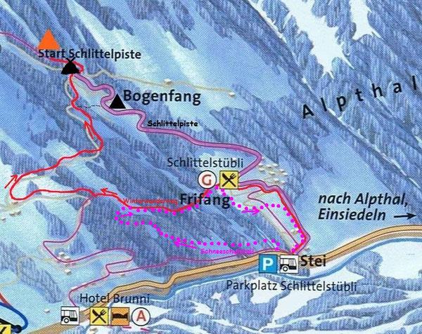 schneeschuhtour Schneeschutrail Gruppenevent Übersichtskarte Winter Schlitteln