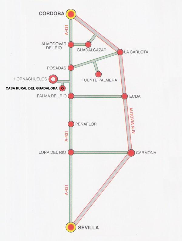 "Esquema de Carreteras para llegar a CASA RURAL DEL GUADALORA.- Haz ""clic"" en la imagen para ampliar."