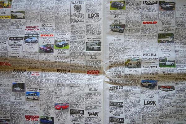 これ、週末の新聞にはさまってる自動車の冊子の個人売買コーナー。