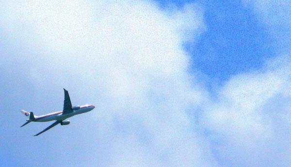 エアバスA330双発エンジンワイドボディに中国っぽさを連想させる古めかしい赤青シンプルなラインペイント。味があるな。一見マレーシア航空にも見える。