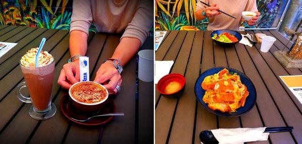 左:モカシェイク&カプチーノ。 右:ポークカツ丼&ビビンバ丼withしょうゆ。