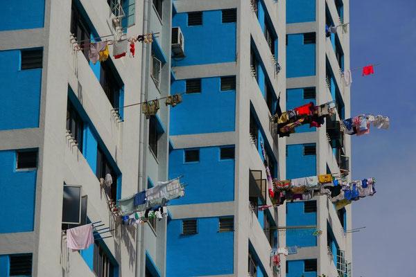 シンガポールは国民の8割がマンション住まいの為、これが一般的な洗濯物の干し方なのです。下着もなんでも丸見えやし、飛んでいくし。