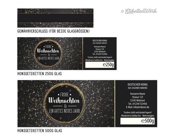 Honigetiketten, Design für Honig, Honigglasetiketten, Etiketten, Imker, Honiggläser, Honig Labels, Weihnachten,