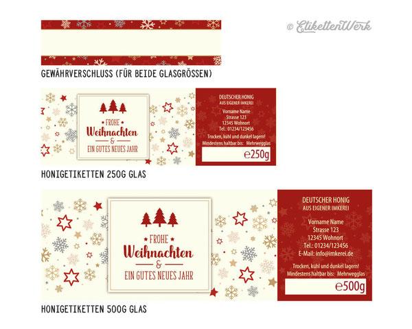 Honigetiketten, Design für Honig, Honigglasetiketten, Etiketten, Imker, Honiggläser, Honig Labels, Weihnachten, Weihnachtsetiketten