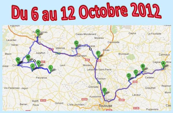 A - Albi, B - Gaillac, C - Lisle sur Tarn, D - Rabastens, E - Castelginest, F - Montauban, G - Moissac, H - Agen, N - Condom, J - Terraube, K - Lectoure, L - Saint Clar, M - La Romieu, N - Condom.