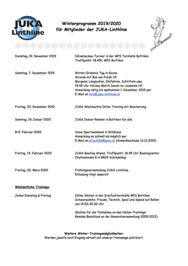 JUKA- Linthline Winterprogramm