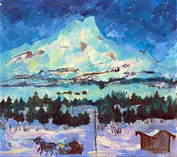 Ночной зимний пейзаж с Piz da la Margna