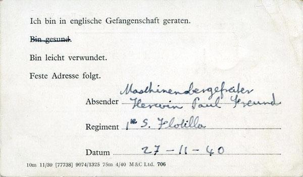 Postkarte des MaschObGefr. Freund aus der Gefangenschaft an seinen Vater - Bild: Archiv Maik Freund