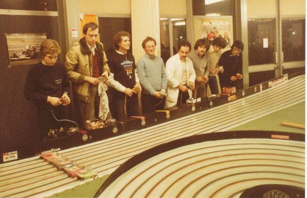 Bordeaux ESRAC 1982 départ de la finale avec Denis Laxenaire, Didier Moret, Philippe Thibault, Samy Béraha, Jean-Claude Ehinger, Jimi Maldonado, Claude Willette, Alain Lefebvre.