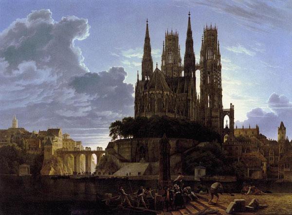 """K. F. Schinkel: """"Ciudad medieval junto al río""""."""