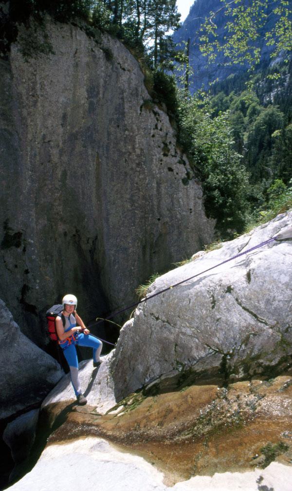Der erste Wasserfall des Barranco Fondo.