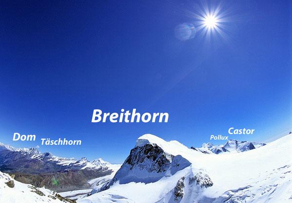 Das Breithorn vom Kleinen Matterhorn aus gesehen.